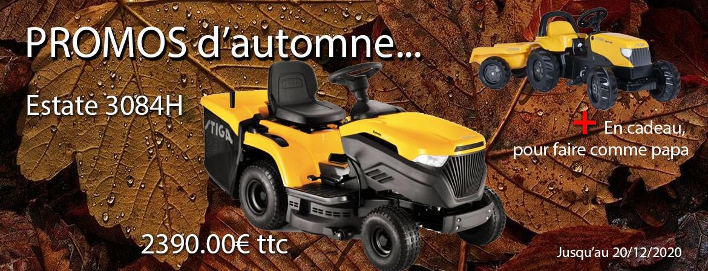 Promo automne 2020, Le tracteur STIGA Estate 3084H au prix exceptionnel de 2390 euros ttc.